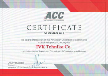 American Chamber of Commerce certificate
