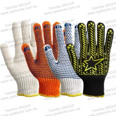 Knitted working gloves with PVC or without